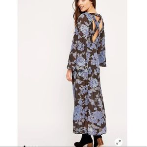 Free People Sheer Melrose Blue Floral Maxi Dress in Size 4